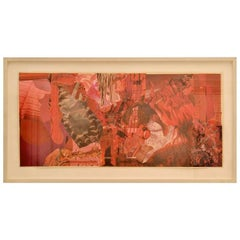 Abstract Collage Art in Red by Bill Allan, UK, 1993