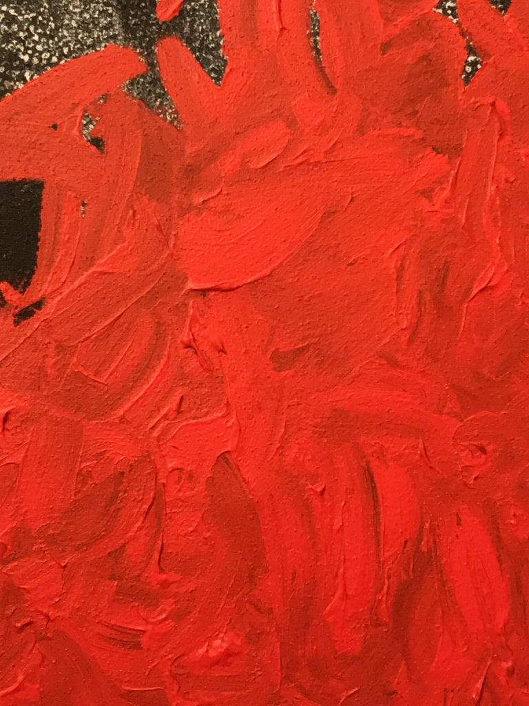 Post-Modern Abstract Color Field Mixed-Media Canvas, Vermillion & Pepper by BT Newton, 2016 For Sale
