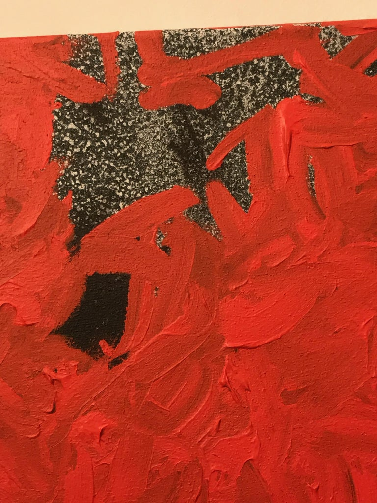 Abstract Color Field Mixed-Media Canvas, Vermillion & Pepper by BT Newton, 2016 In Good Condition For Sale In Brooklyn, NY