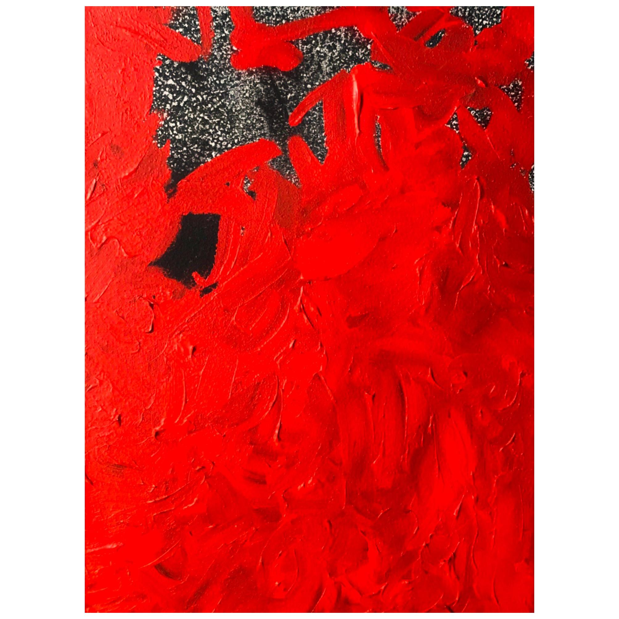 Abstract Color Field Mixed-Media Canvas, Vermillion & Pepper by BT Newton, 2016