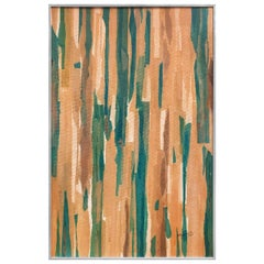 Abstract Color Field Mixed-Media in Tones of Green and Tans