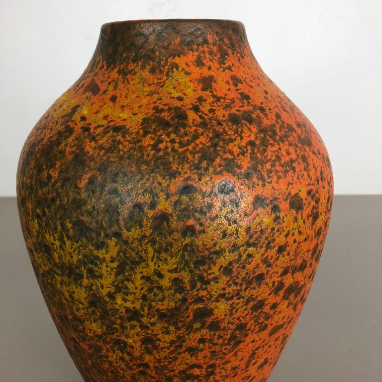 Abstract Colorful Pottery Floor Vase Made by Silberdistel, W. Germany, 1950s For Sale 6