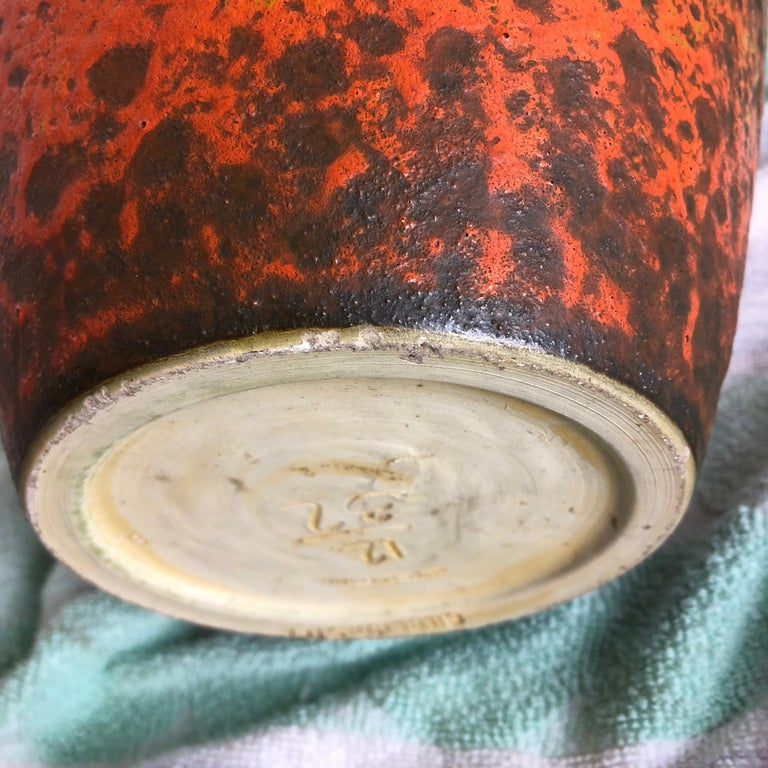 Abstract Colorful Pottery Floor Vase Made by Silberdistel, W. Germany, 1950s For Sale 9
