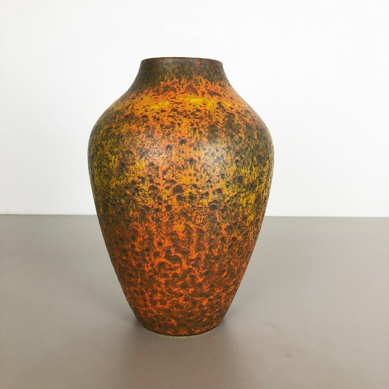Mid-Century Modern Abstract Colorful Pottery Floor Vase Made by Silberdistel, W. Germany, 1950s For Sale