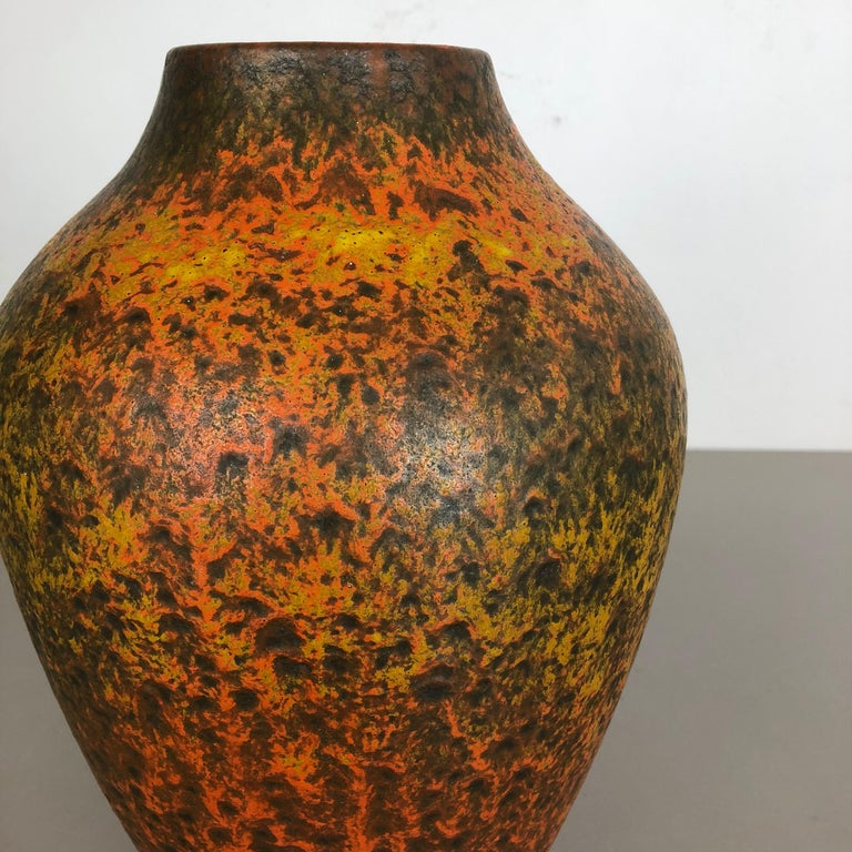 Ceramic Abstract Colorful Pottery Floor Vase Made by Silberdistel, W. Germany, 1950s For Sale