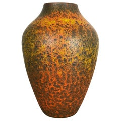 Abstract Colorful Pottery Floor Vase Made by Silberdistel, W. Germany, 1950s