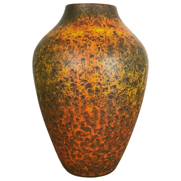 Abstract Colorful Pottery Floor Vase Made by Silberdistel, W. Germany, 1950s For Sale
