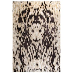 "Abstract Contemporary Area Rug Beige Brown,8'x10' Handmade of Wool Silk, ""Roar"""