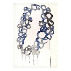 Abstract Contemporary Area Rug Blue, Handmade Pashmina Silk Wool, Blue Mood