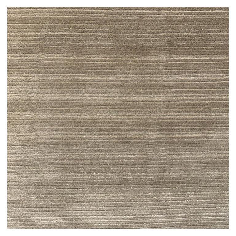 Abstract Contemporary Area Rug Gold, Handmade Wool Silk, Symfonia