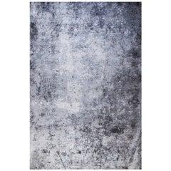 Abstract Contemporary Area Rug Grey Blue, 8'x10' Handmade Bamboo Silk, Concrete
