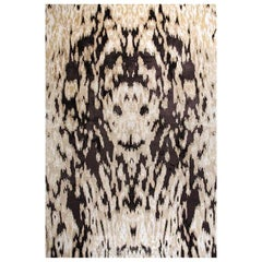 "Abstract Contemporary Area Rug in Beige Brown, Handmade of Wool Silk, ""Roar"""