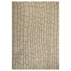 """Abstract Contemporary Area Rug in Beige, Handmade of Wool, """"Riad"""""""