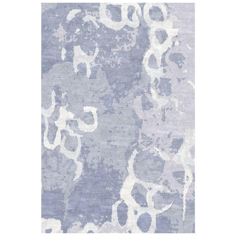 """Abstract Contemporary Area Rug in Blue Handmade of Silk and Wool """"Arctic"""""""