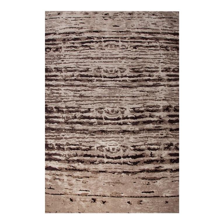 Abstract Contemporary Area Rug in Brown, Handmade Hemp Wool Silk, Cosmo