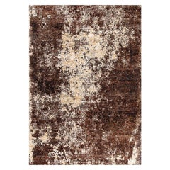 """Abstract Contemporary Area Rug in Brown, Handmade of Bamboo Silk, """"Concrete"""""""
