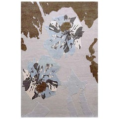 "Abstract Contemporary Area Rug in Browns Handmade of Silk and Wool, ""Opium"""