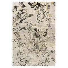 """Abstract Contemporary Area Rug in Gold Black, Handmade of Wool, Silk, """"Escape"""""""