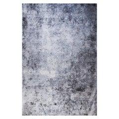 "Abstract Contemporary Area Rug in Grey Blue, Handmade of Bamboo Silk, ""Concrete"""