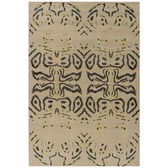 "Abstract Contemporary Area Rug in Taupe, Handmade of Silk and Wool ""Bohemia"""