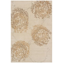 "Abstract Contemporary Area Rug in Taupe, Handmade of Silk and Wool, ""Zaza"""