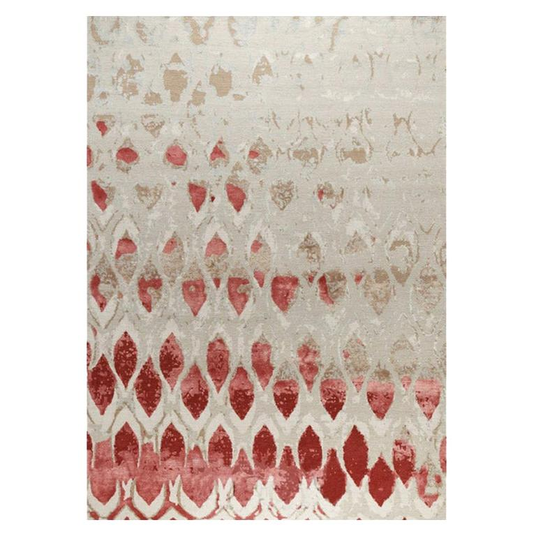 """Abstract Contemporary Area Rug Red Taupe, Handmade Silk Wool """"Fragment"""""""