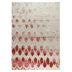 "Abstract Contemporary Area Rug Red Taupe, Handmade Silk Wool ""Fragment"""