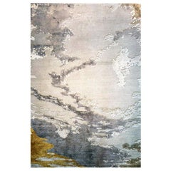 "Abstract Contemporary Area Rug Taupe and Gold, Handmade of Wool Silk, ""Kesaria"""
