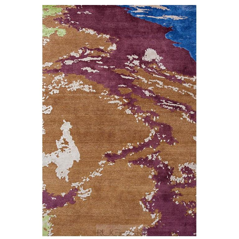 """Abstract Contemporary Colorful Area Rug, Handmade of Wool Silk, """"Kesaria"""""""