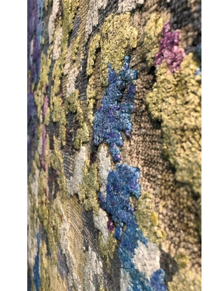 Abstract Contemporary Hand Knotted Wool and Silk Rug Pair For Sale 3