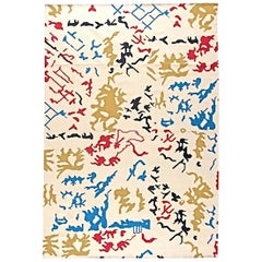 Abstract Contemporary Hand-Knotted Wool Area Rug