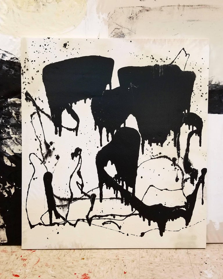 American Abstract Contemporary Mixed-Media Painting on Canvas by Marcus Sisler For Sale