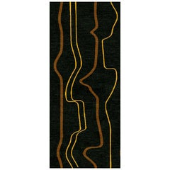 """Abstract Runner Rug in Brown Gold Contemporary, Handmade of Silk Wool, """"Boogi"""""""