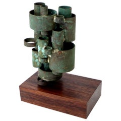 Abstract Copper Tubular Column Sculpture Set on a Walnut Base with Patina