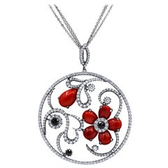 Abstract Coral and Diamond Pendant
