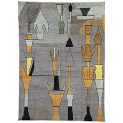 Abstract Cubism Contemporary Moroccan Style Rug Inspired by Paul Klee