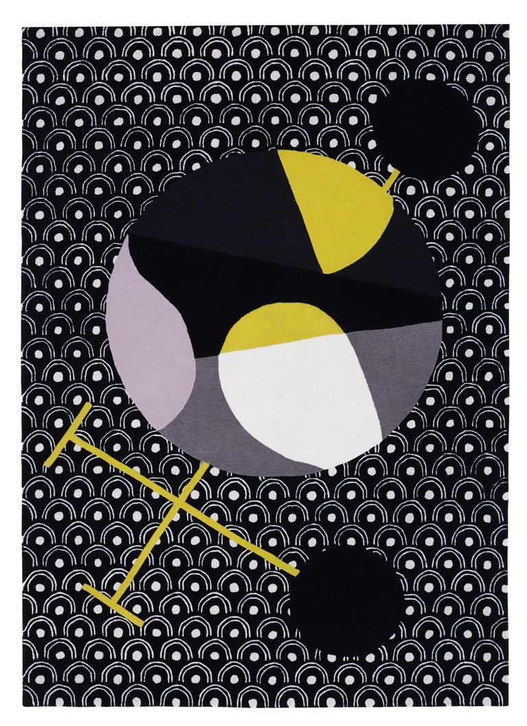 Abstract Dadaist Contemporary rug inspired by Sophie Taeuber Arp Artist: Sophie Taeuber Arp Dimensions: W 170 x D 240 CM New-Zealand wool and silk  Japanese Abstractions is a collection of nine pieces, all designed around the concept of the