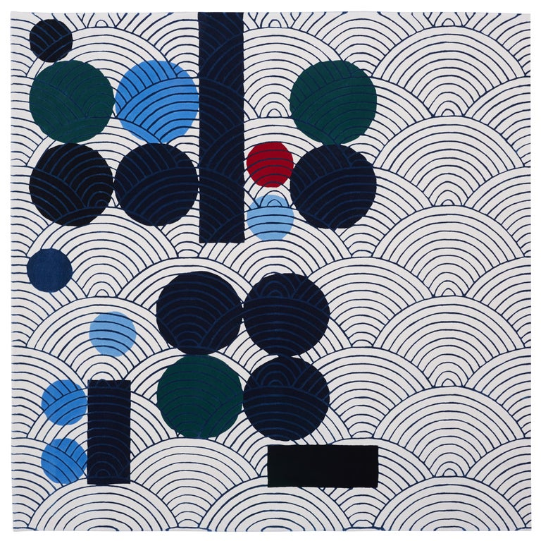 Modern Abstract Dadaist Contemporary Rug Inspired by Sophie Taeuber Arp For Sale