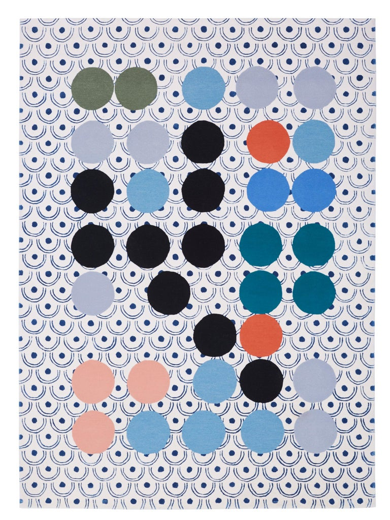 Wool Abstract Dadaist Contemporary Rug inspired by Sophie Taeuber Arp For Sale