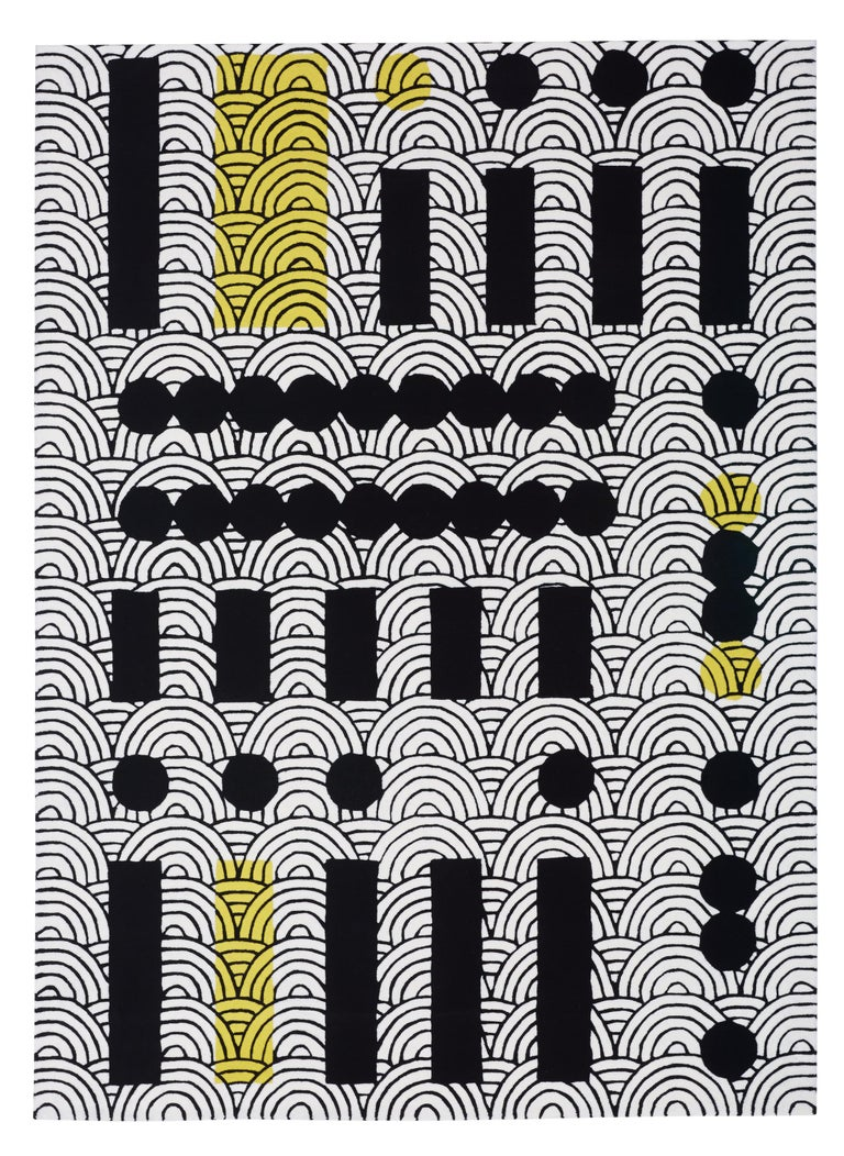 Abstract Dadaist Contemporary Rug Inspired by Sophie Taeuber Arp For Sale 1
