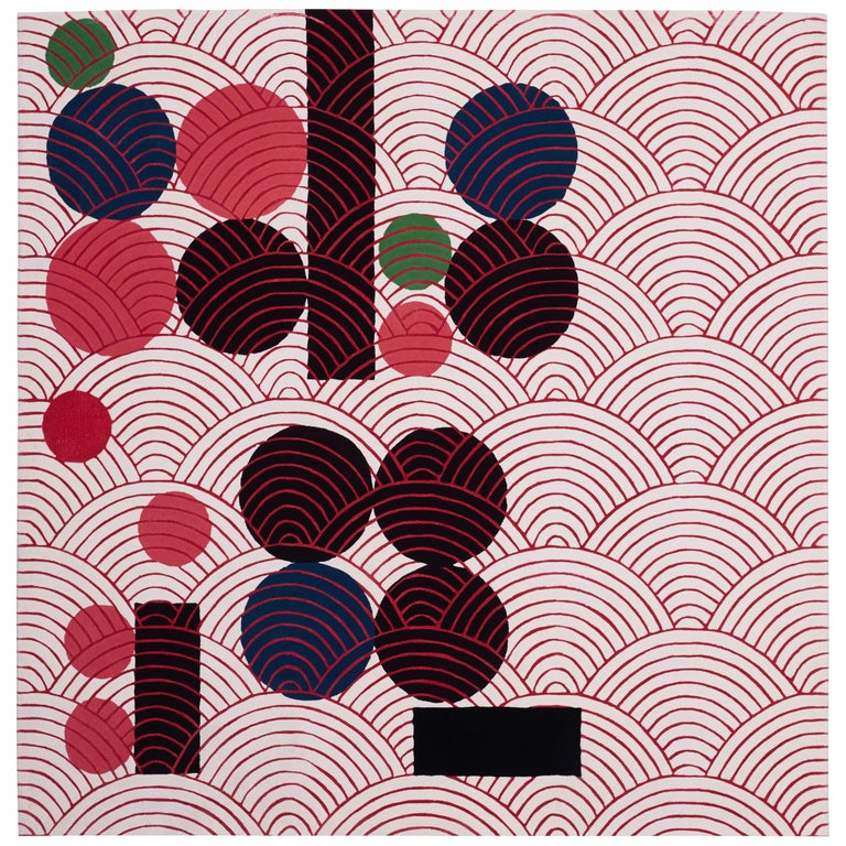Abstract Dadaist Contemporary Rug Inspired by Sophie Taeuber Arp For Sale