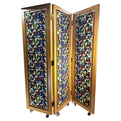 Abstract Decorative Folding Screen, Design Attributed to Joan Miro
