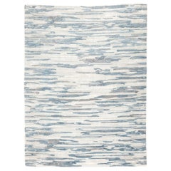 Abstract Design Handmade Blue and Gray Silk and Wool Rug