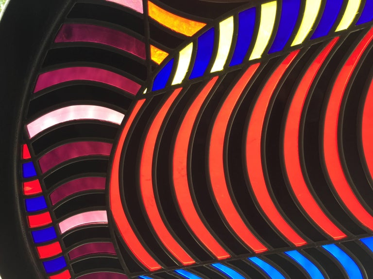 Organic Modern Abstract Design Leaded Glass Window