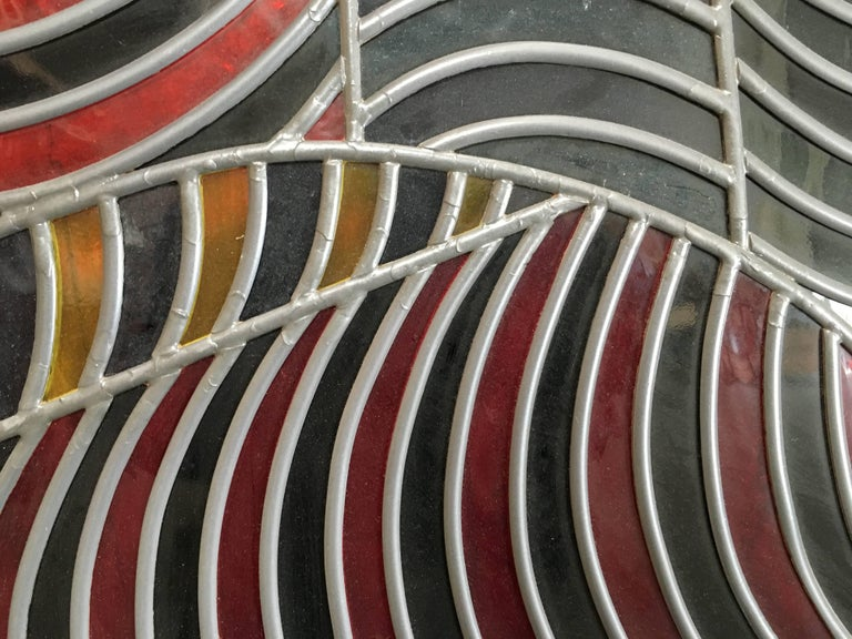Abstract Design Leaded Glass Window For Sale 2