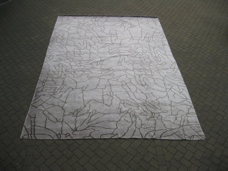 Hand-Knotted Abstract Design Rug For Sale