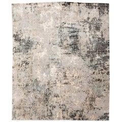 Contemporary Silk and Wool Rug, Abstract Design over Gray Tones