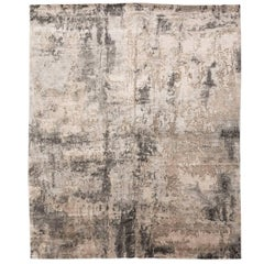 Contemporary Silk and Wool Rug, Abstract Design in Beige and Gray Colors