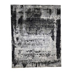 Abstract Design Wool and Silk Hand Knotted Rug