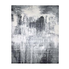 Abstract Design Wool and Silk Tone on Tone Hand Knotted Oversized Rug